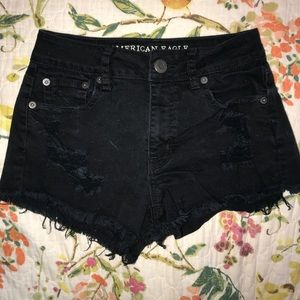 Black American Eagle Distressed Shorts